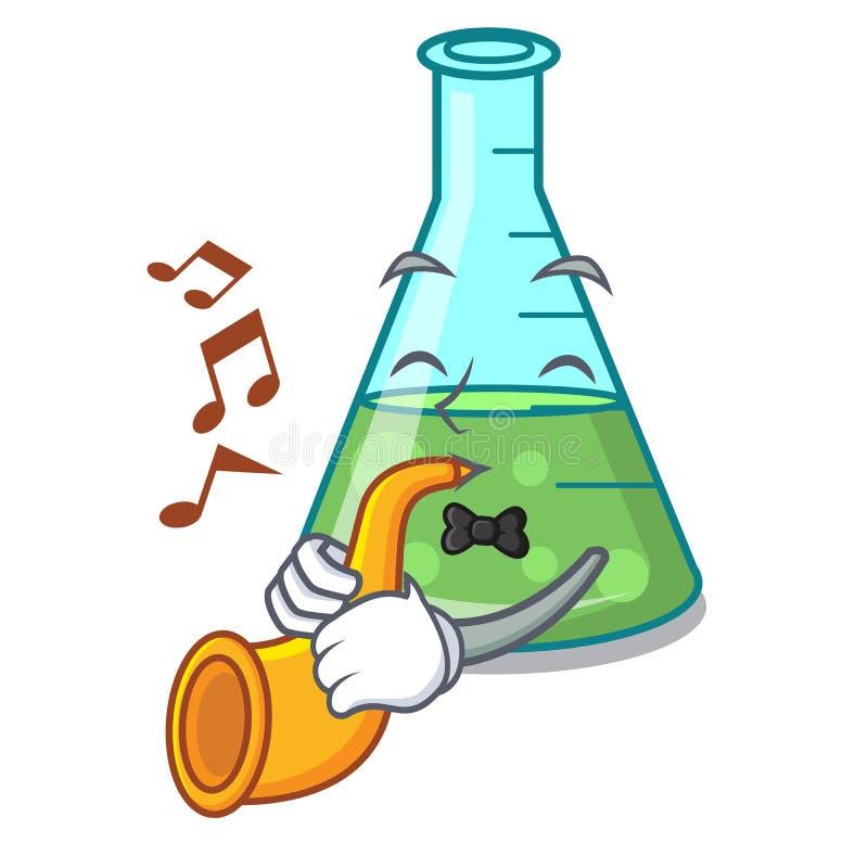 With trumpet science beaker mascot cartoon. Vector illustration stock illustration