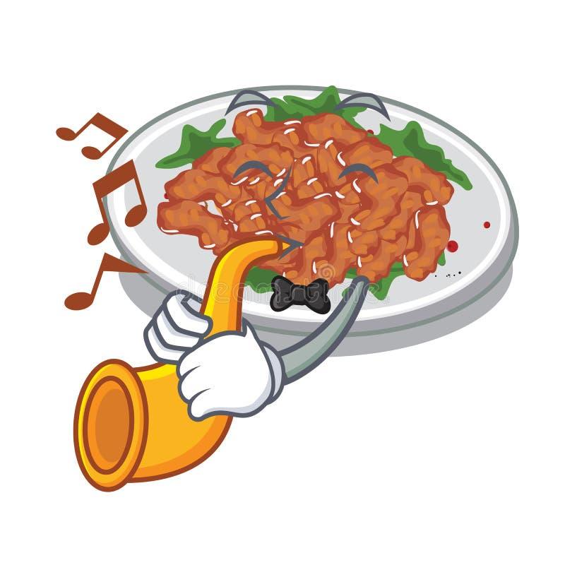 With trumpet sesame chicken in a cartoon bowl. Vector illustration vector illustration