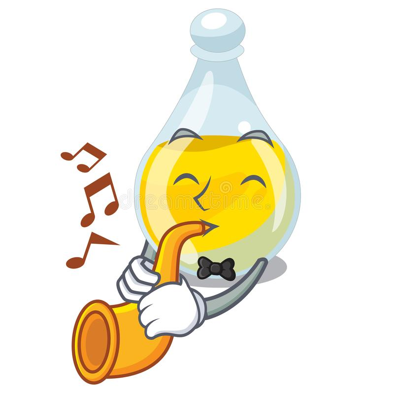 With trumpet sesame oil in a mascot bowl royalty free illustration