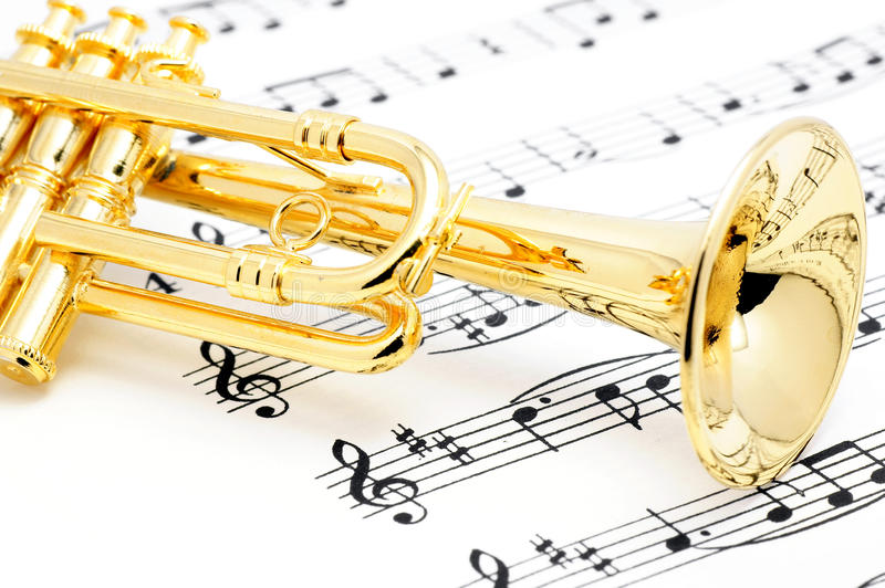 Trumpet and sheet music. stock images