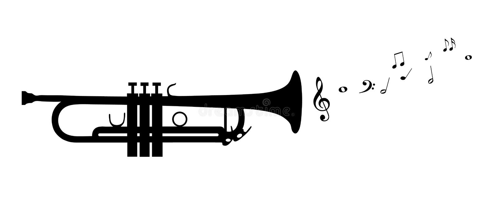 Trumpet Silhouette With Flying Notes - Black Vector Illustration - Isolated On White Background vector illustration