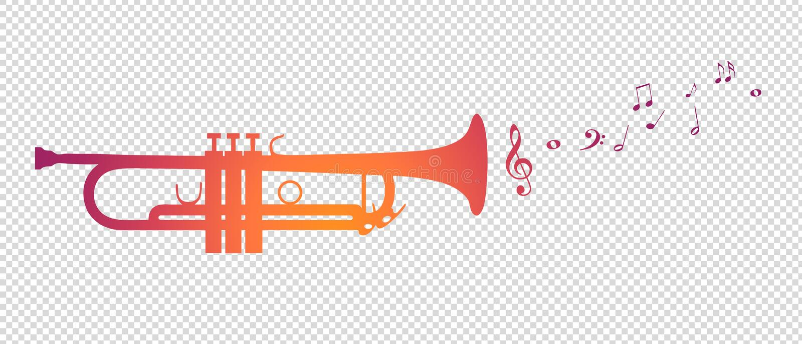 Trumpet Silhouette With Flying Notes - Vector Illustration - Isolated On Transparent Background vector illustration