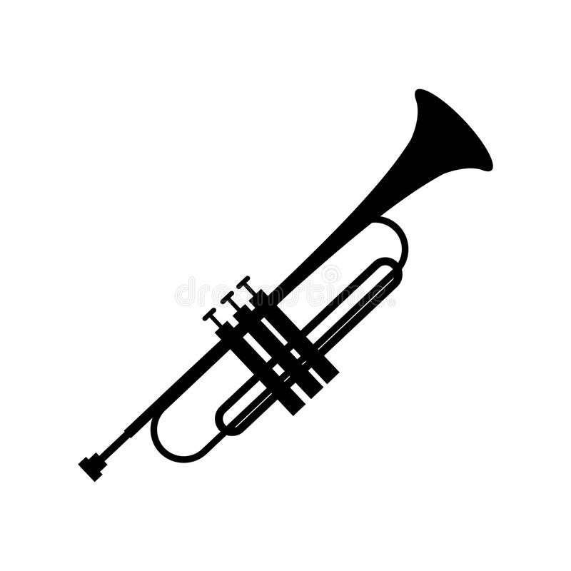 Trumpet simple black icon. On a white royalty free illustration