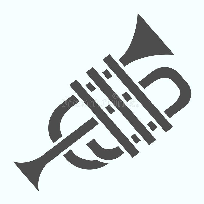Trumpet solid icon. Wind musical instrument vector illustration isolated on white. Music tuba glyph style design. Designed for web and app. Eps 10 vector illustration