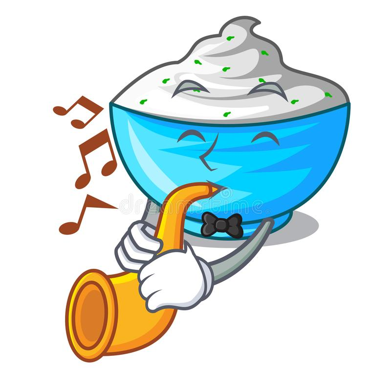 With trumpet sour cream in a character bowl vector illustration