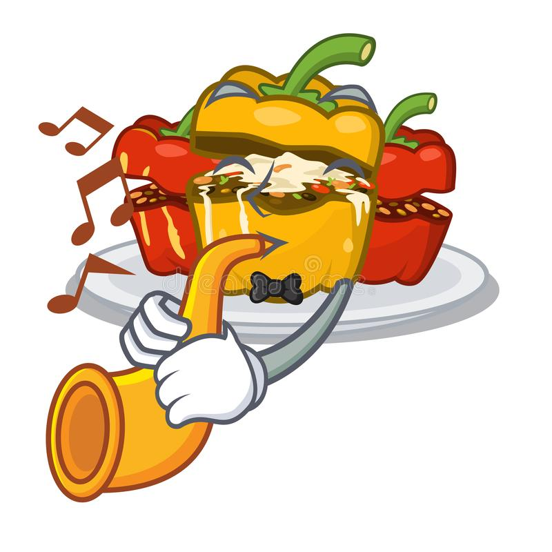 With trumpet stuffed pepper above the mascot board stock illustration