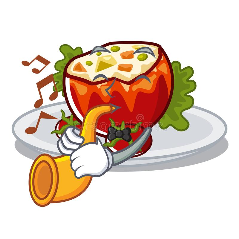 With trumpet stuffed tomatoes on a cartoon board vector illustration