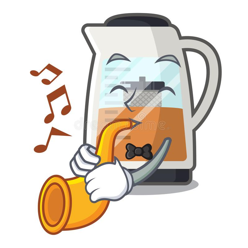 With trumpet tea maker is served in cartoon bottle royalty free illustration