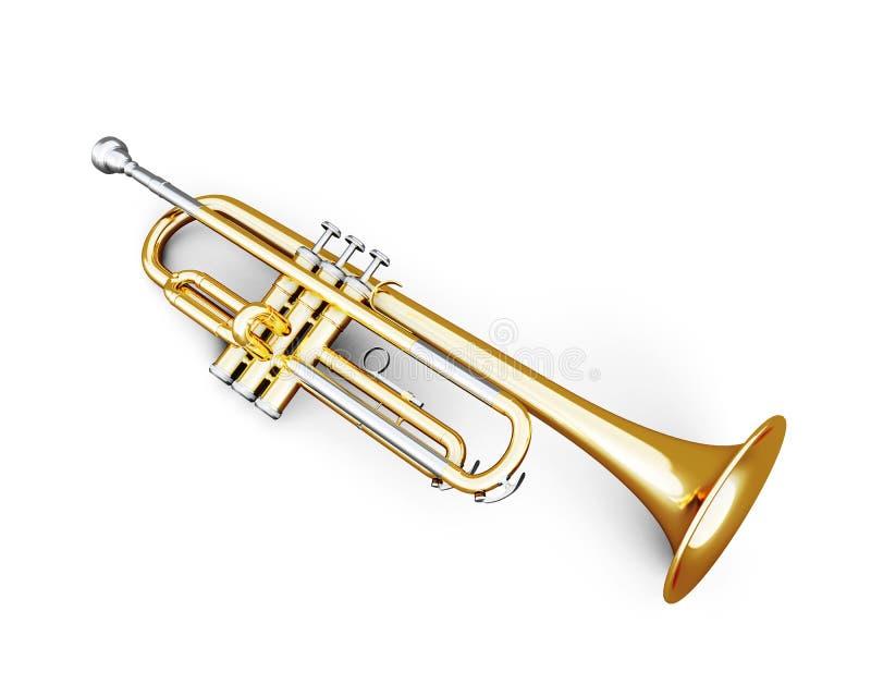 Trumpet under den vita bakgrunden stock illustrationer