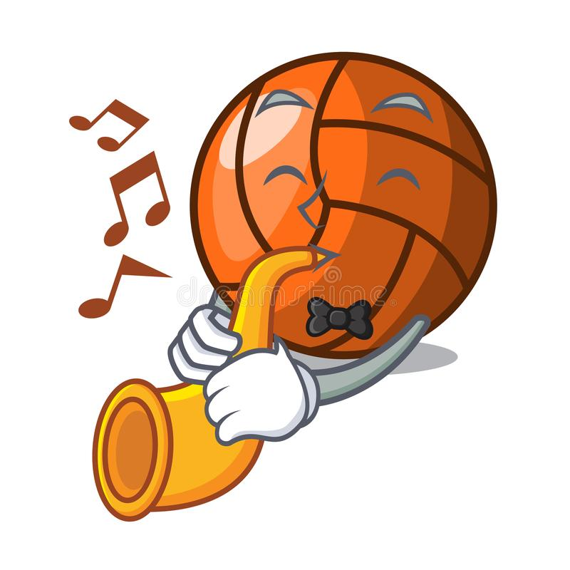 With trumpet volleyball mascot cartoon style. Vector ilustration stock illustration