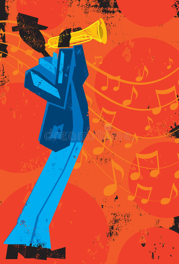 trumpet w тона саксофона игрока фокуса перста b голубой иллюстрация штока