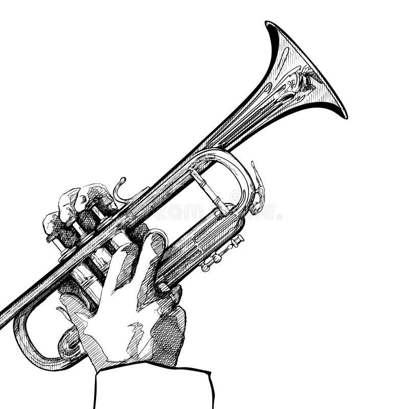 Trumpet on white background. Hand drawn illustration of a trumpet on white background vector illustration