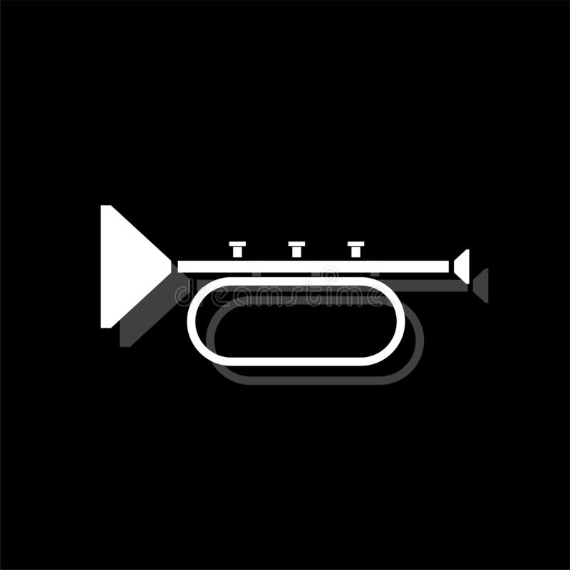 Trumpet icon flat. Trumpet. White flat simple icon with shadow royalty free illustration