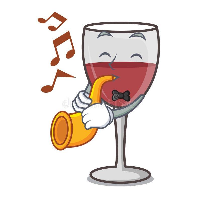 With trumpet wine mascot cartoon style. Vector illustration stock illustration