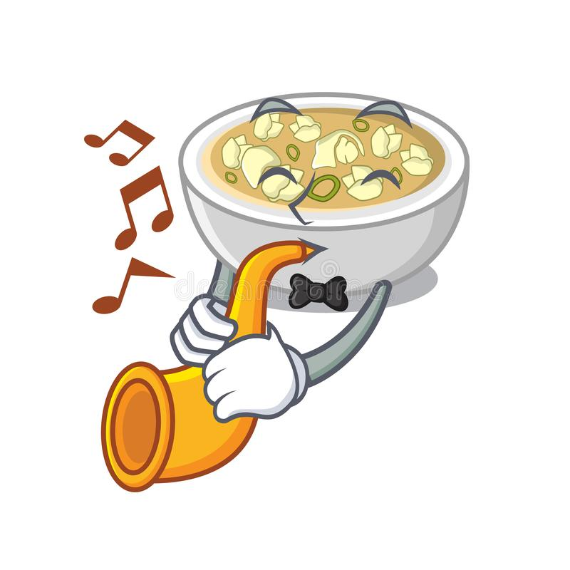 With trumpet wonton soup in a cartoon bowl vector illustration