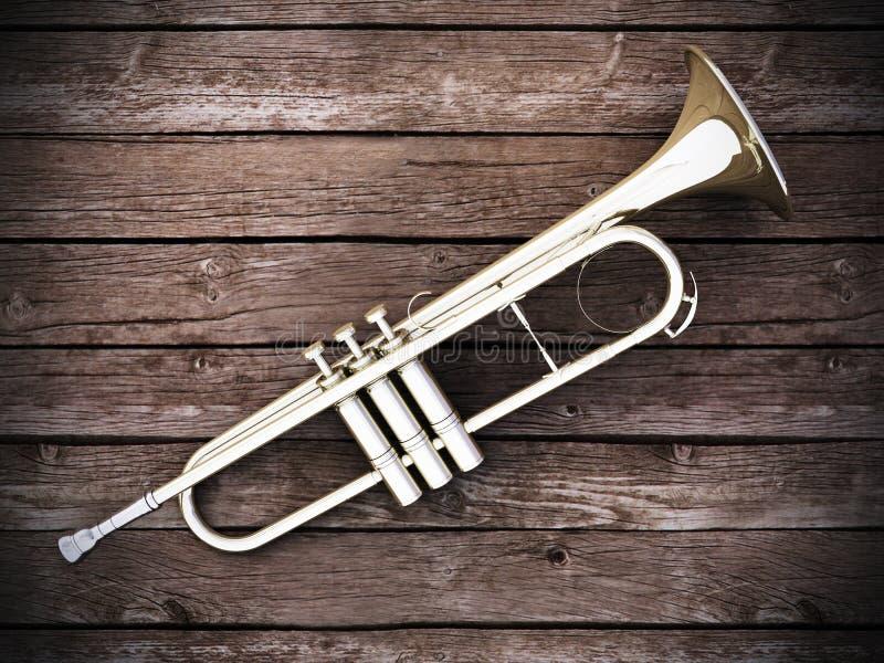 Download Trumpet on wood stock illustration. Image of cornet, trumpet - 25601759