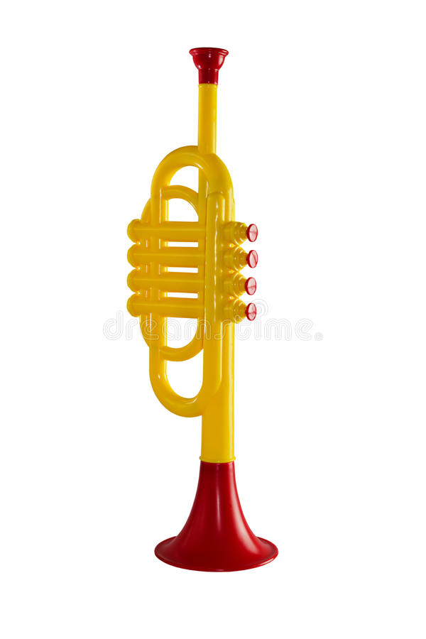 Trumpeta musik för att barn ska spela på en isolerad vit bakgrund arkivbild