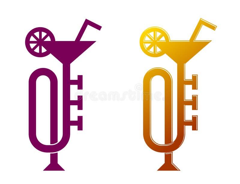 Trumpeta som coctailexponeringsglas, design för reklamblad för konsert för jazzmusik stock illustrationer