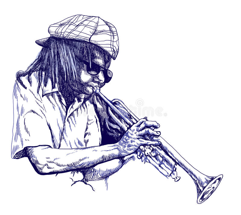 Trumpeter royalty free illustration