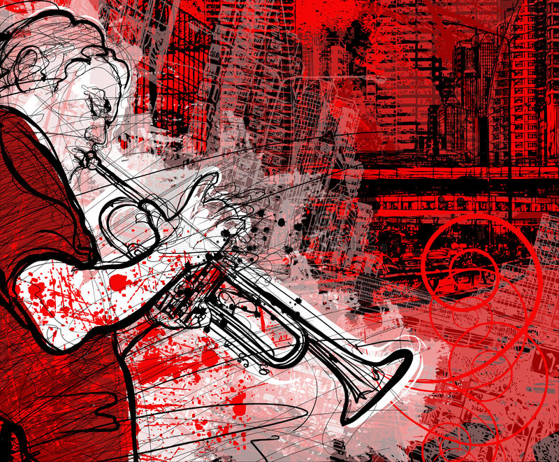 Trumpeter On A Grunge Cityscape Background Stock Photo
