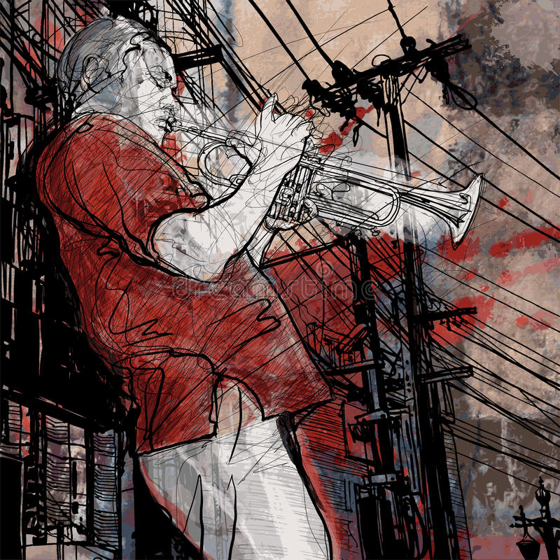 Download Trumpeter On A Grunge Cityscape Background Stock Vector - Image: 25570545