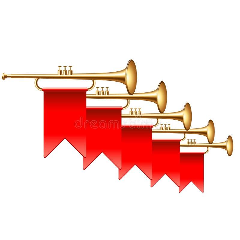 Trumpeter med röda flaggor som isoleras på den vita vektorillustrationen vektor illustrationer