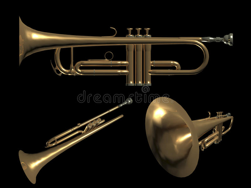 Trumpetmusik stock illustrationer
