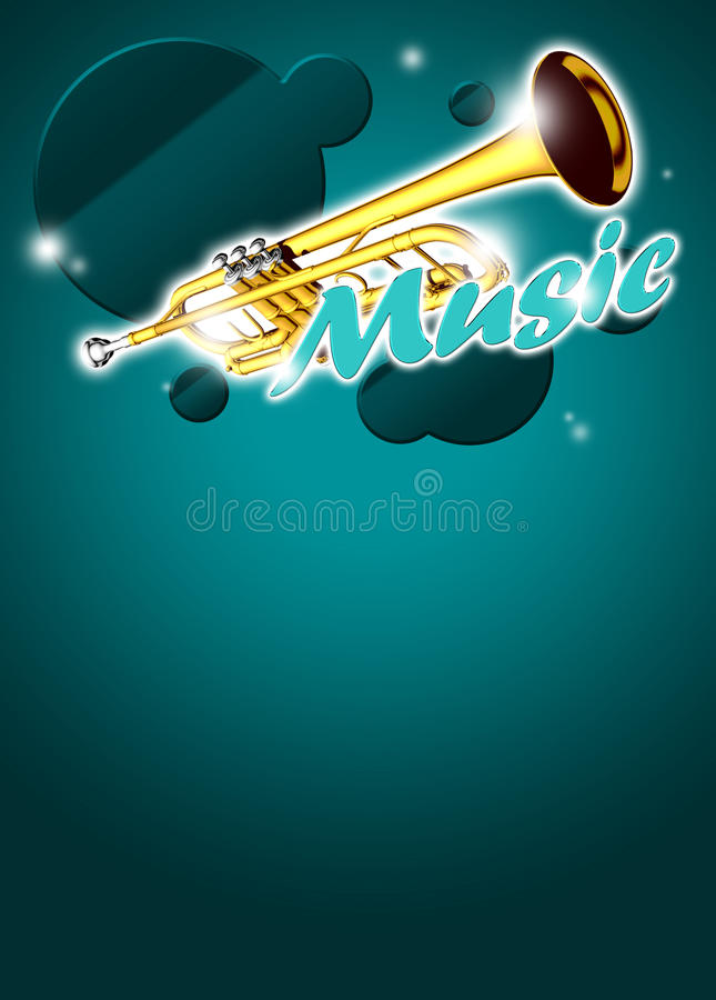 Trumpetmusikbakgrund stock illustrationer