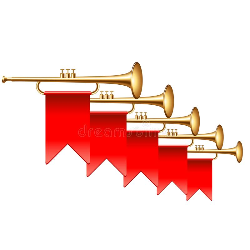 Trumpets with red flags isolated on white vector illustration vector illustration