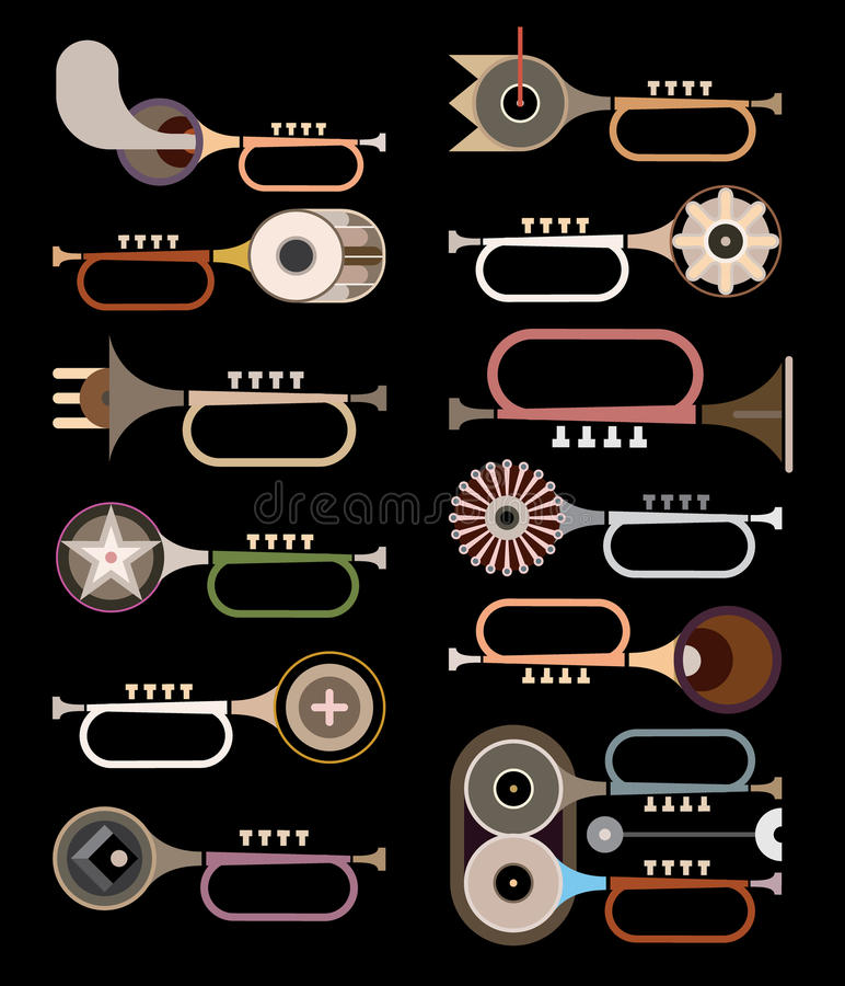 Trumpets - vector illustration. Trumpets - abstract vector icons on black background. Collection of similar trumpets. Graphic design royalty free illustration