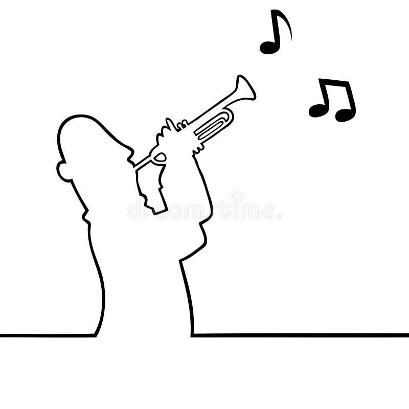 Trumpetspelare stock illustrationer