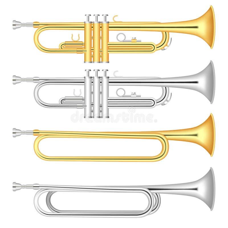Trumpetsymbolsuppsättning, realistisk stil royaltyfri illustrationer