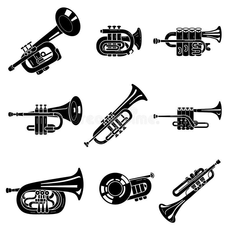 Trumpetsymbolsupps?ttning, enkel stil royaltyfri illustrationer