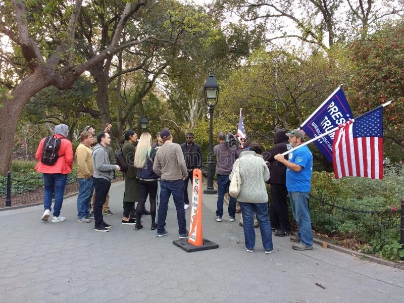 Trumpf-Anhänger, Washington Square Park, NYC, NY, USA lizenzfreies stockfoto