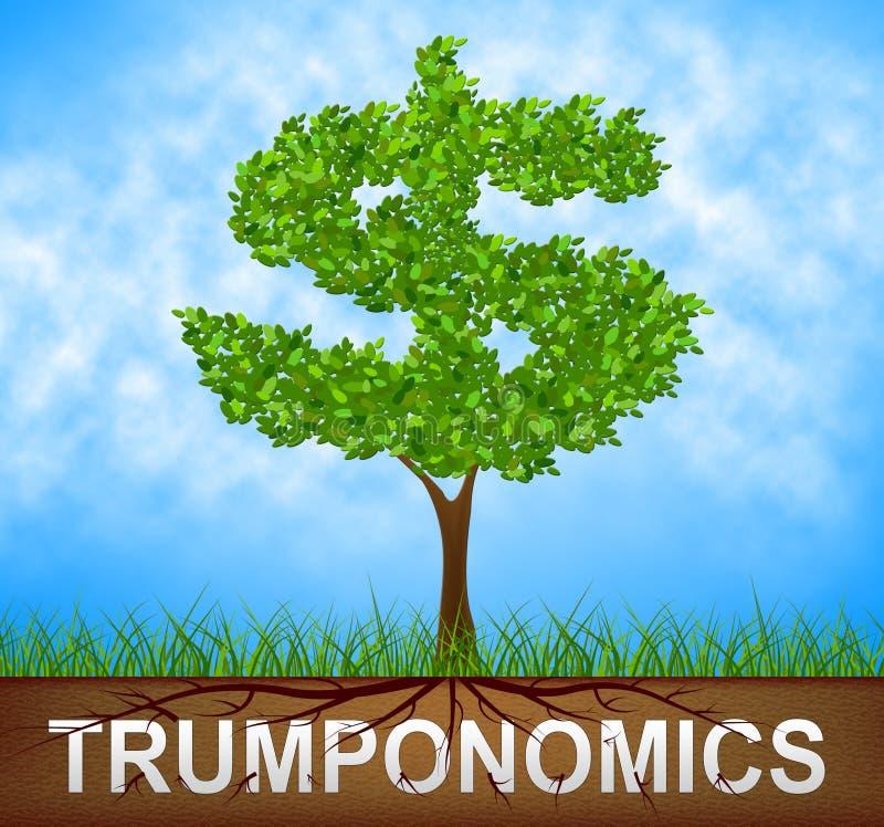 Trumponomics Or Trump Economics Usa Government Finance - 2d Illustration. Trumponomics Or Trump Economics Usa Government Finance. Stock Market And Economy In The royalty free illustration