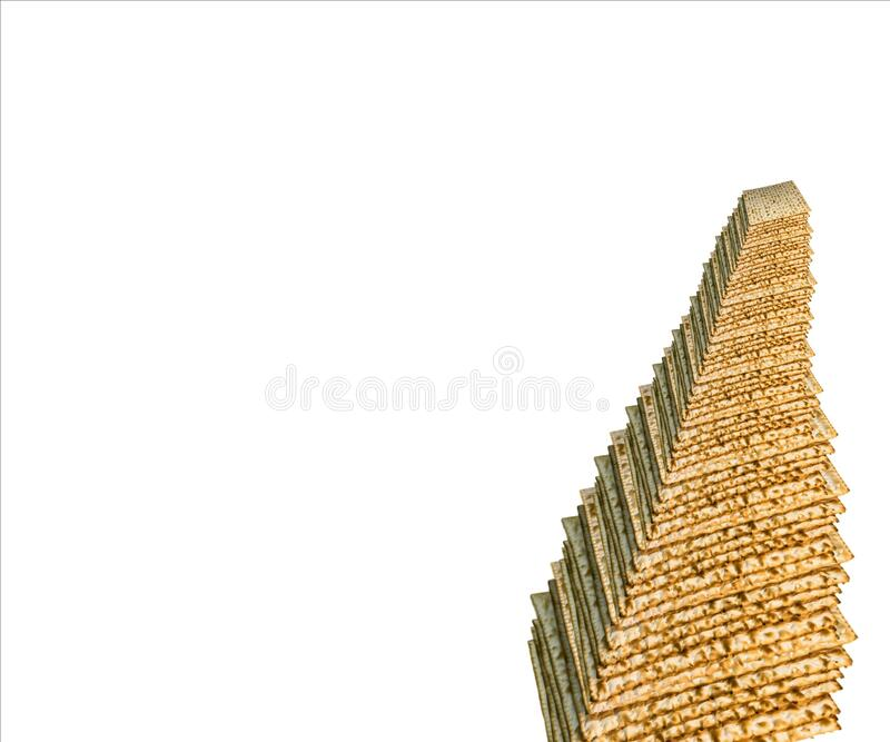 Truncated pyramid of Jewish Matzah bread, substitute for bread on the Jewish Passover holiday. Pesach matzo frustum on white royalty free stock image