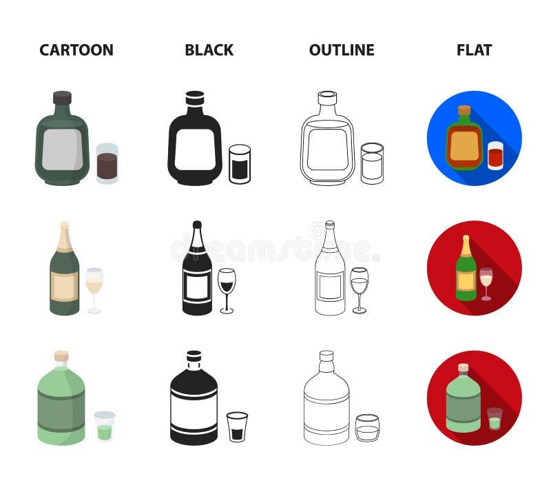 Trunek czekolada, szampan, absynt, ziołowy ajerkoniak Alkohol ustalone inkasowe ikony w kreskówce, czerń, kontur, mieszkanie styl royalty ilustracja