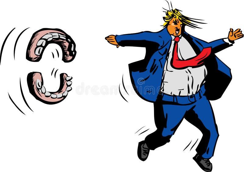 Trunfo desdentado que corre das dentaduras ilustração stock