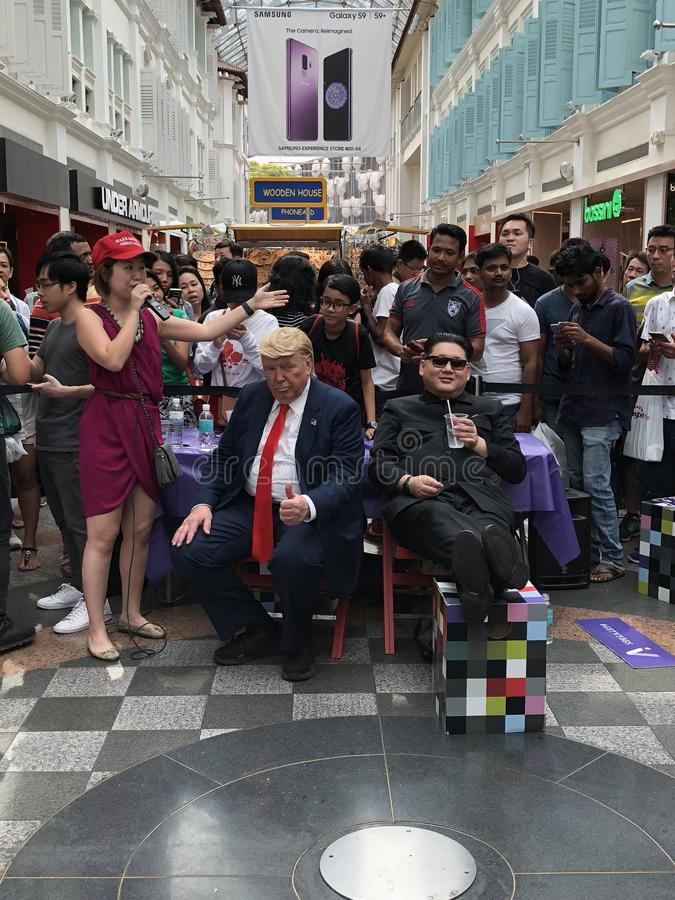 Trunfo e Kim Jong Un falsificados entre a cimeira de Singapura fotografia de stock royalty free