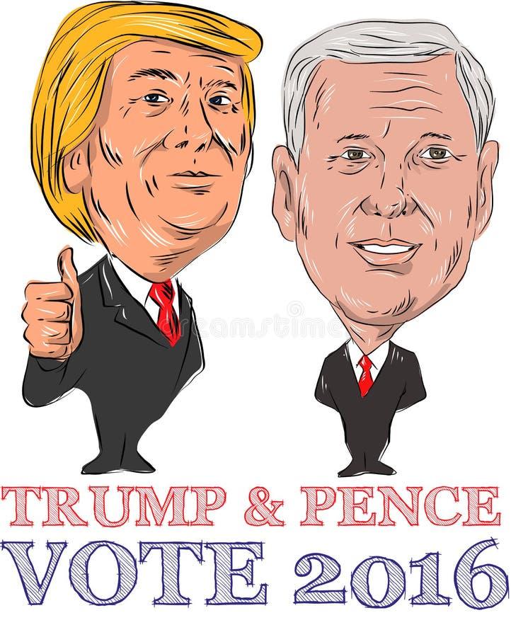 Trunfo e voto 2016 das moedas de um centavo ilustração royalty free