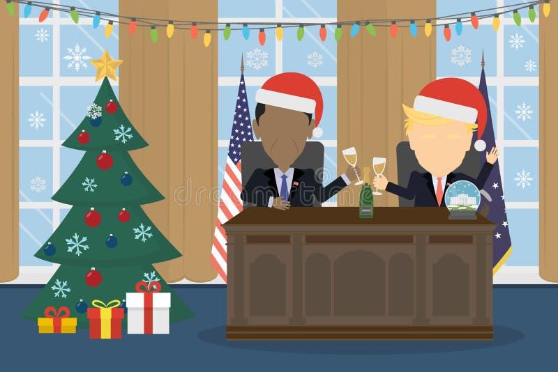 Trunfo no chapéu de Santa na casa branca ilustração stock