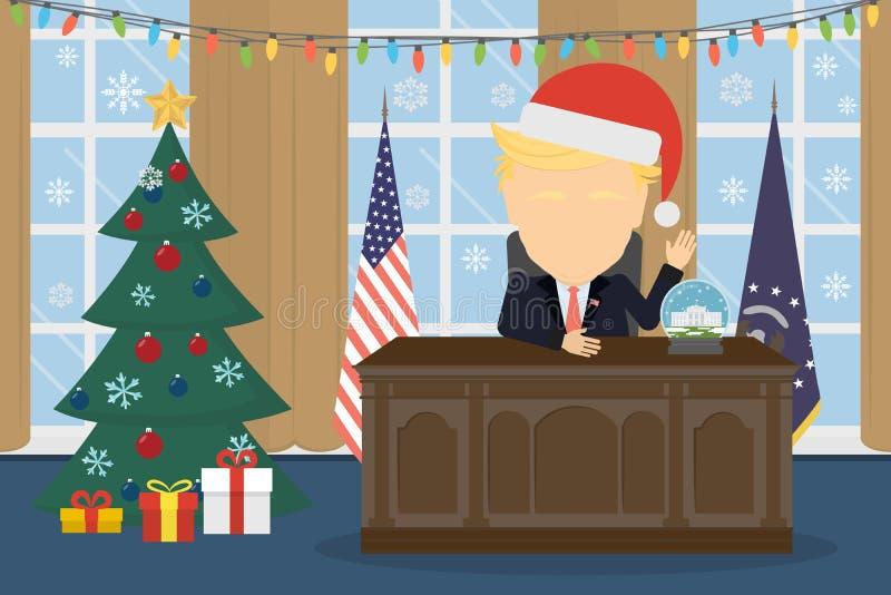 Trunfo no chapéu de Santa na casa branca ilustração do vetor