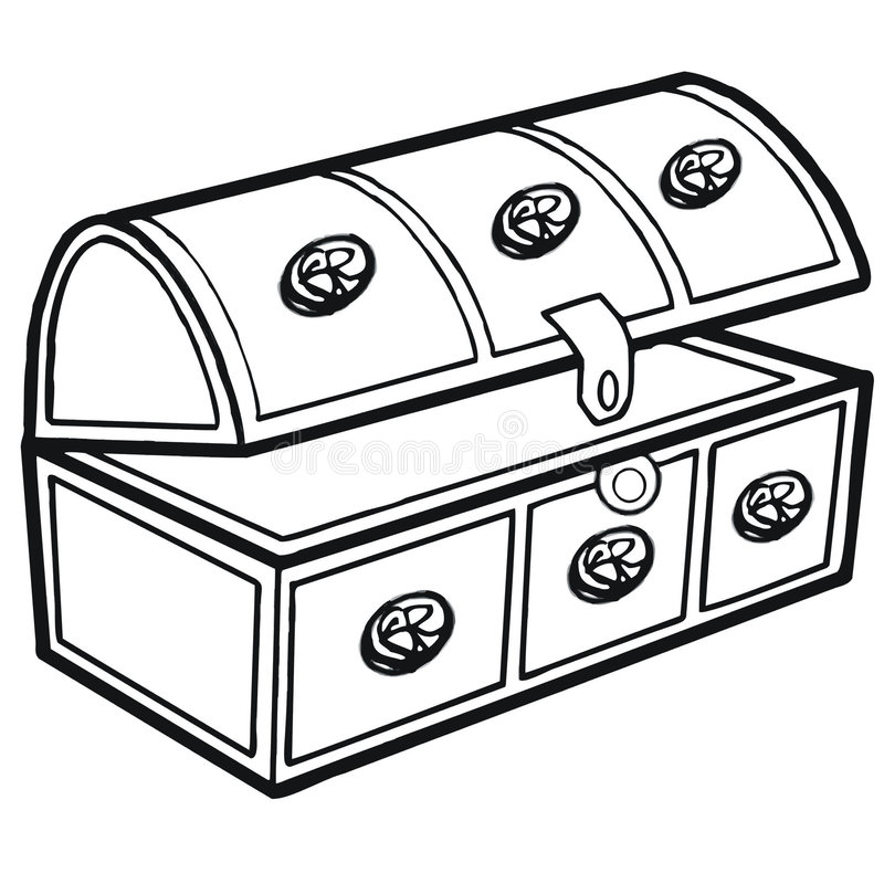 Trunk. Art illustration in black and white: an old trunk vector illustration
