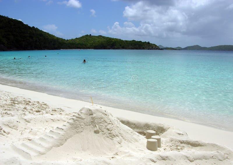 Trunk Bay Sand Castles. Sand castles on a world famous Trunk Bay (St.John, U.S.Virgin Islands royalty free stock photos