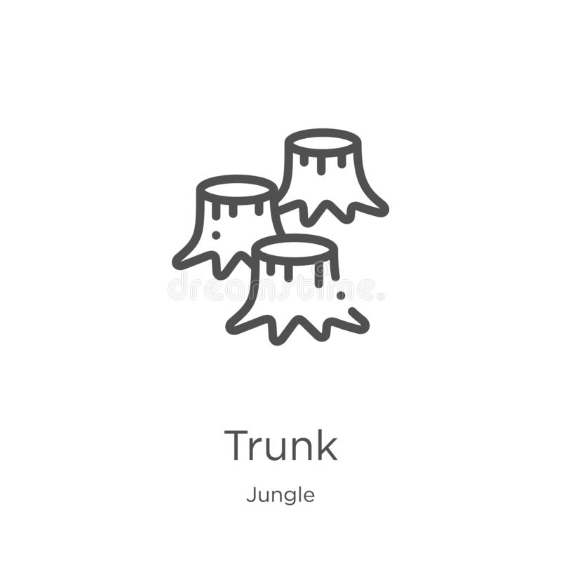 Trunk icon vector from jungle collection. Thin line trunk outline icon vector illustration. Outline, thin line trunk icon for. Trunk icon. Element of jungle royalty free illustration