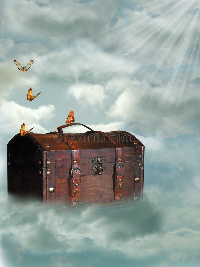 Trunk in the sky. With butterfly vector illustration