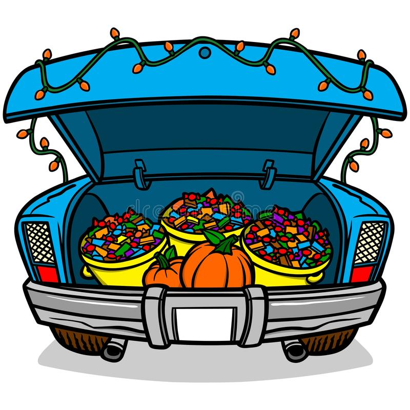 Trunk Or Treat. A vector illustration of a Trunk Or Treat stock illustration