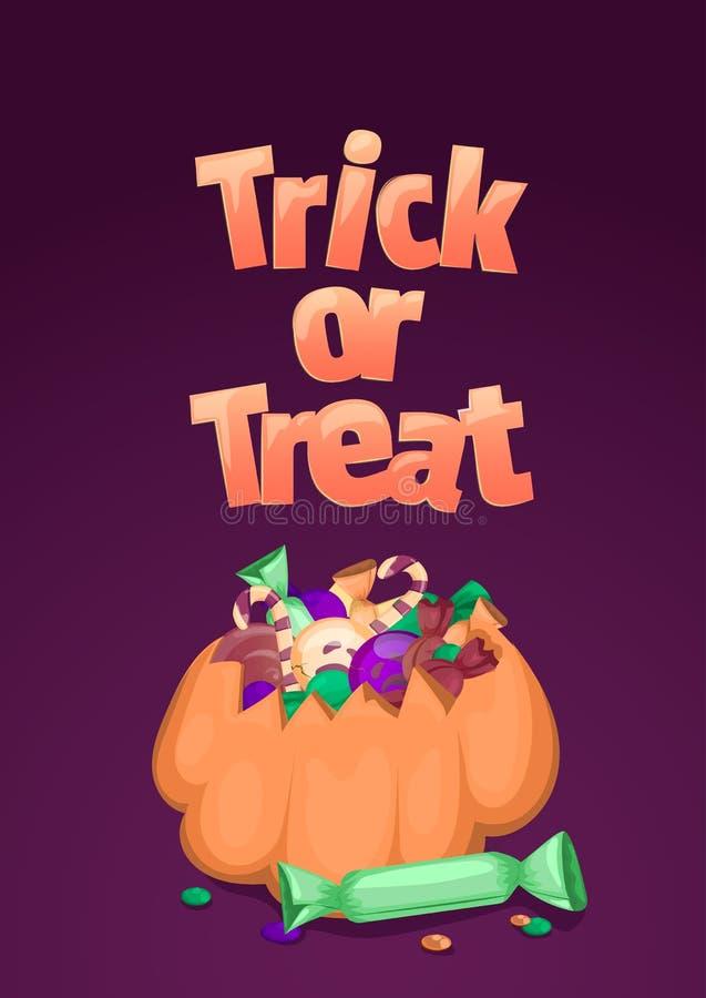 Truque ou deleite Bandeira de Halloween Ilustração dos desenhos animados com abóbora, os doces coloridos e os doces ilustração do vetor