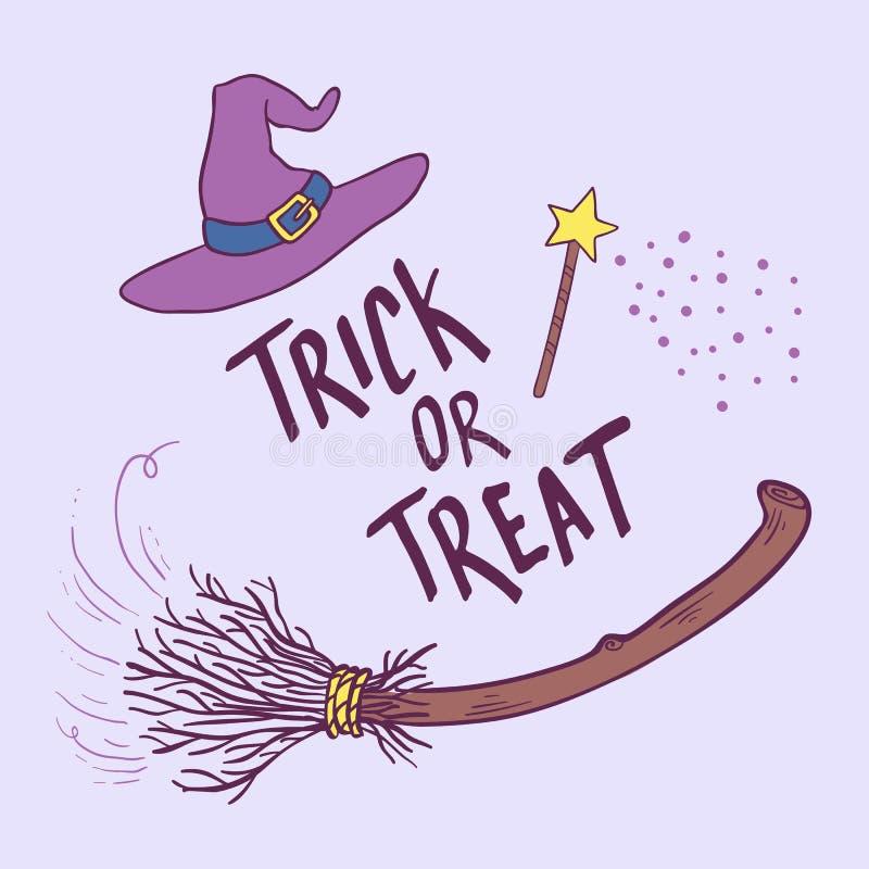 Truque ou deleite Entregue tirado rotulando a frase com chapéu e vassoura da bruxa Cartão do tema de Dia das Bruxas ilustração do vetor