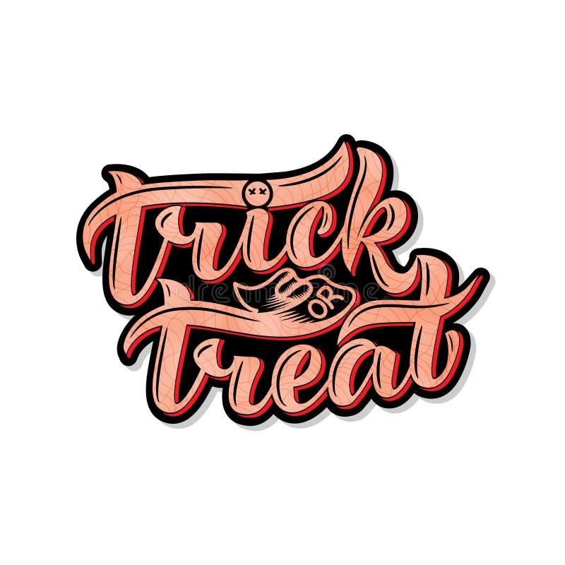 Truque ou deleite Halloween Composição da rotulação, grande para o cartão de presente de época natalícia ilustração royalty free